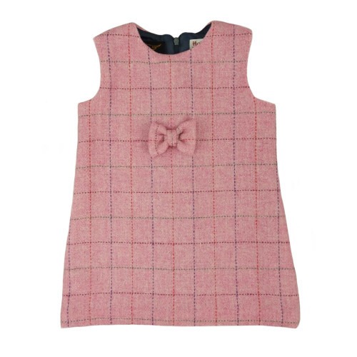 Harris Tweed Pinafore with Bow in Bright Pink with Overcheck