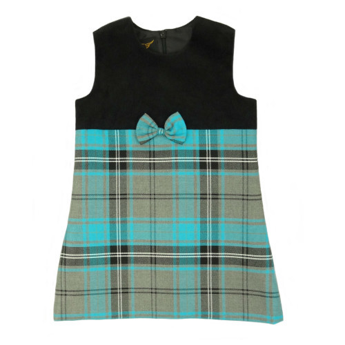 Tartan & Cord Pinafore Dress in Blue Tartan