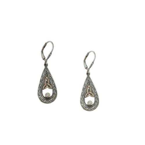 Keith Jack teardrop earrings with trinity knot & sapphire
