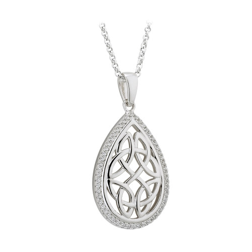 Celtic knotwork teardrop silver pendant
