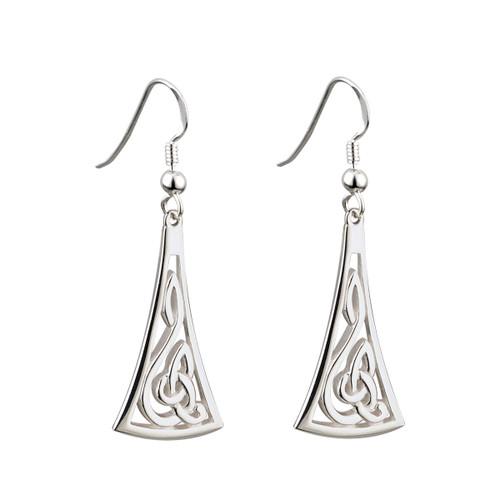 Celtic Swirl Silver long drop earrings