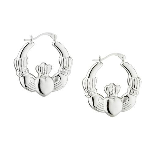 Solvar Claddagh Creole Silver hoop earrings
