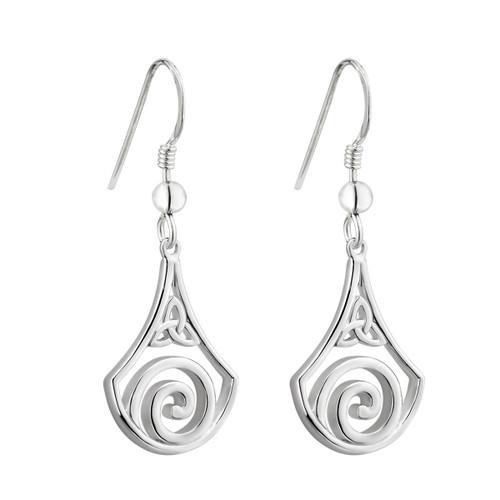 Solvar Celtic Swirl Silver drop earrings