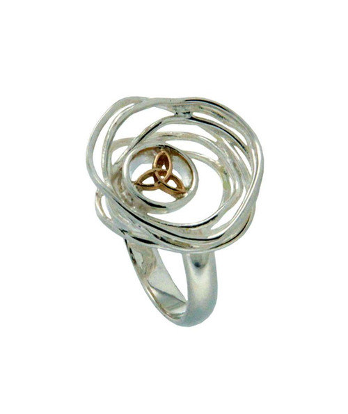 Keith Jack Celtic Cradle of Life Silver & 10k gold ring