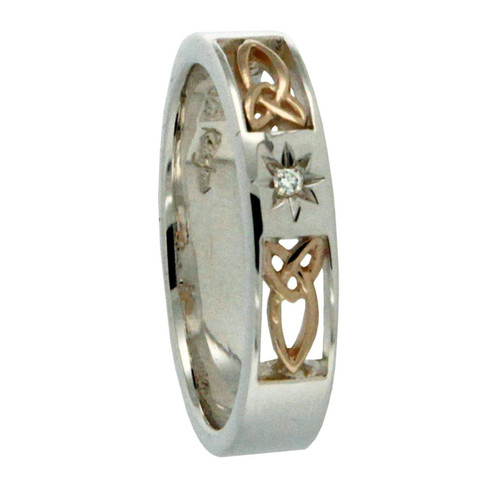 Keith Jack Lussa Trinity Knot silver, gold and diamond ring