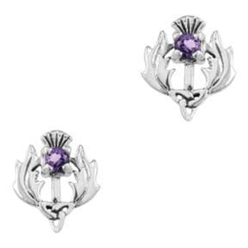 Scottish Thistle Silver stud earrings with amethyst coloured stone