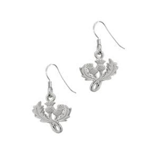 Scottish Thistle silver drop earrings