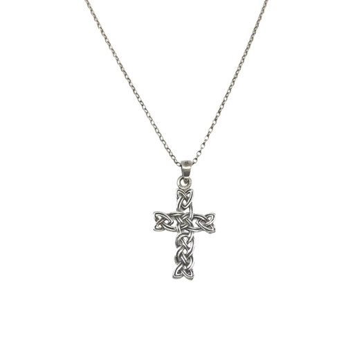 Silver cross with Celtic open weave knotwork