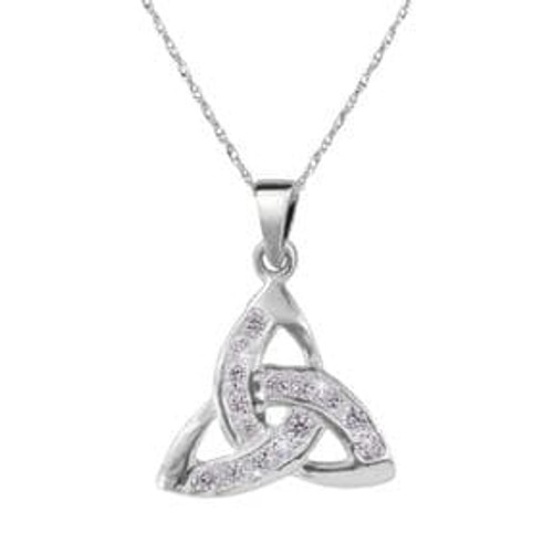 Silver Trinity Knot pendant with cubic zirconia stones
