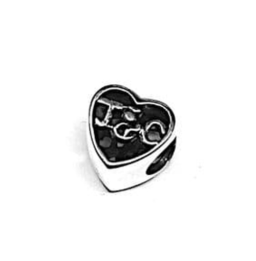 Outlander Inspired Heart-shaped silver bead charm