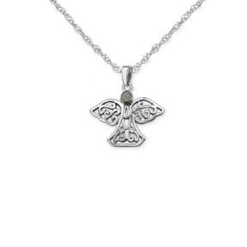 Celtic Angel Silver Pendant with Gemstone