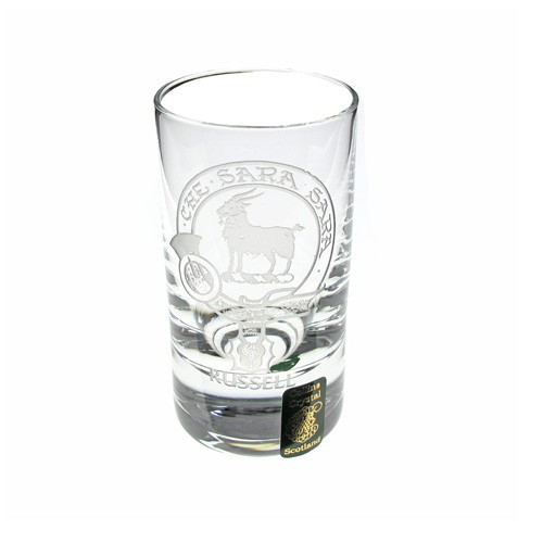 Collins Crystal Dram glass with engraved Clan Crest