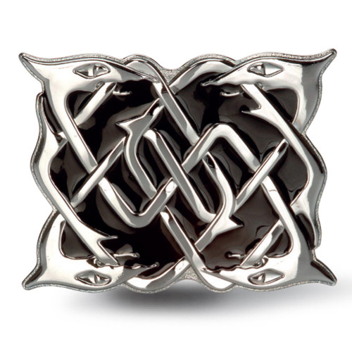 Chrome Serpent Belt Buckle with Black Inlay