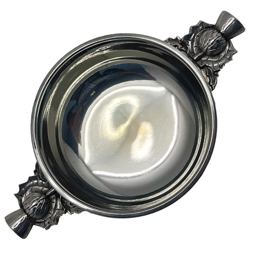"""3"""" Wide Thistle Handle Pewter Quaich"""