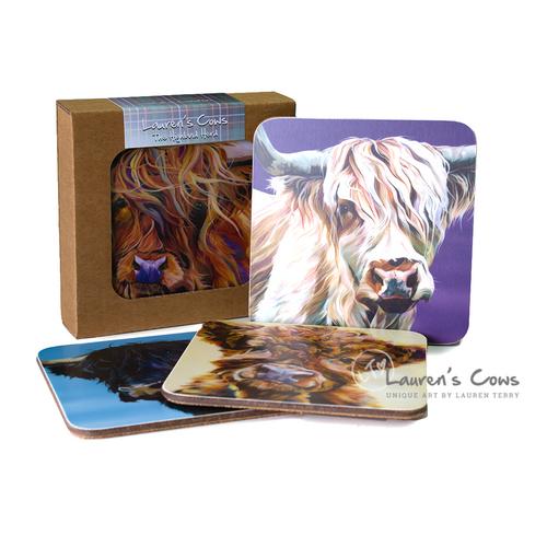 Lauren's Cows Coaster Set 'The Highland Herd'