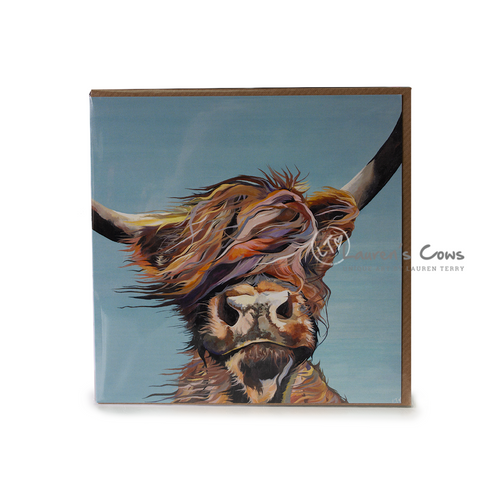 Lauren's Cows  Highland Cow Greeting Card ' Gone with the Wind'