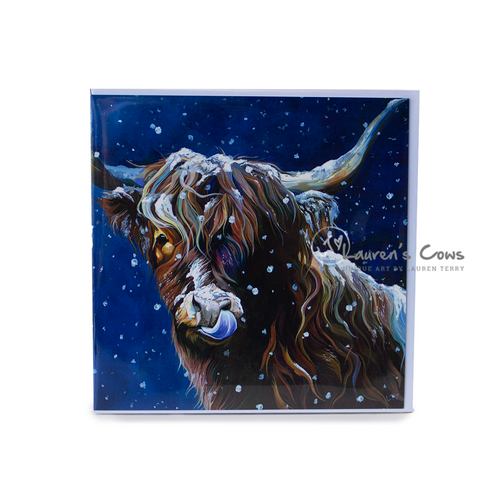Lauren's Cows Highland Cow Greeting Card 'Snowflake'