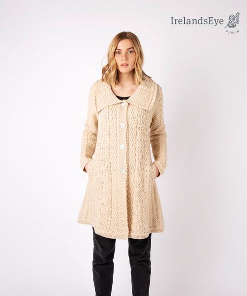 Willow Aran A Line Buttoned Coat Oatmeal Marl