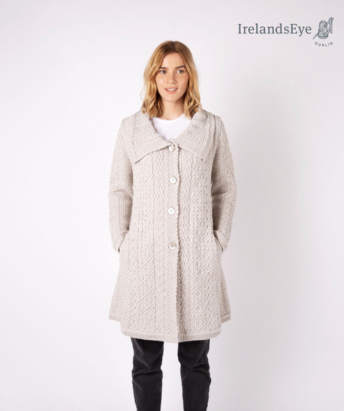 Willow Aran A Line Buttoned Coat Silver Marl