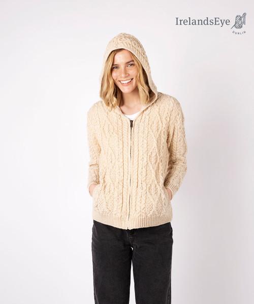 Ash Aran Zipped Hooded Jacket Oatmeal Marl