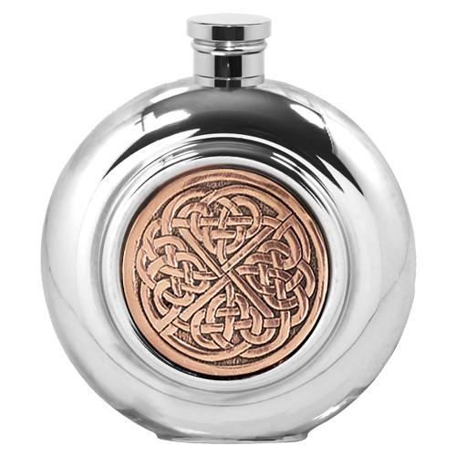 6oz Celtic Rose Pewter Flask