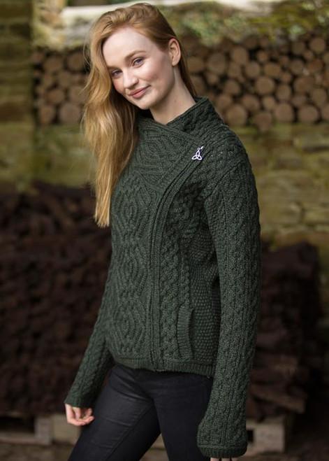 Woman's short side -zip cardigan (Army Green)