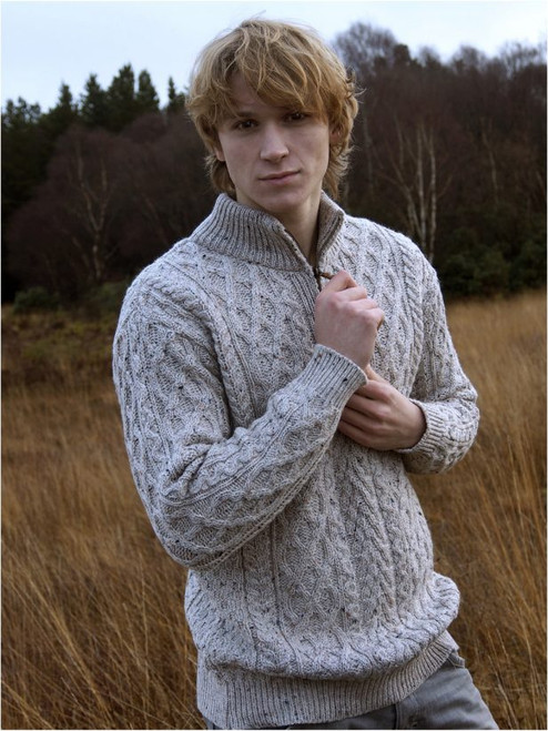 Men's half-zip sweater Oatmeal