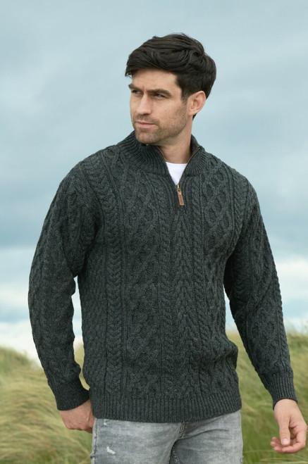 Men's half-zip sweater Charcoal