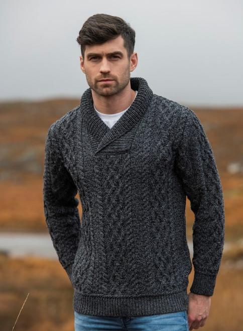 Men's Shawl Collar Sweater (Charcoal)