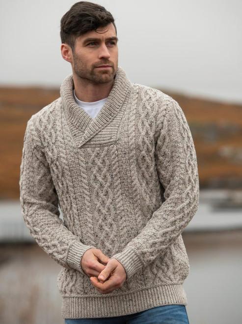 Men's Shawl Collar Sweater (Oatmeal)