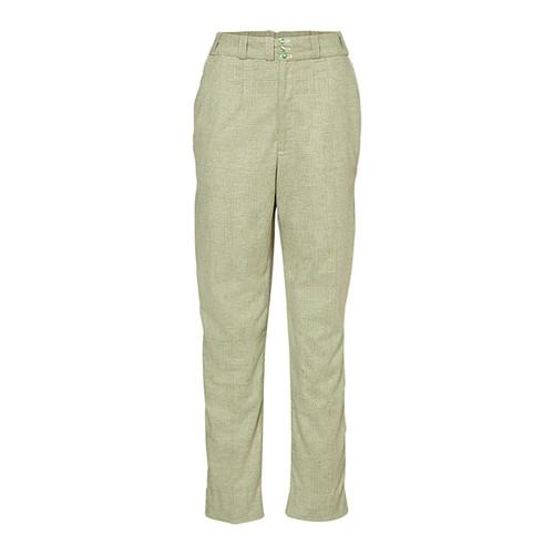 Sihi Pants 100% Fine Merino Herringbone Check Lime/White Lining - 100% Silk