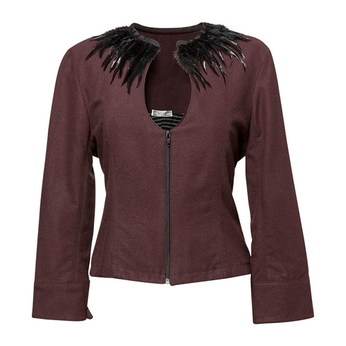 Burgundy /Black Feathers