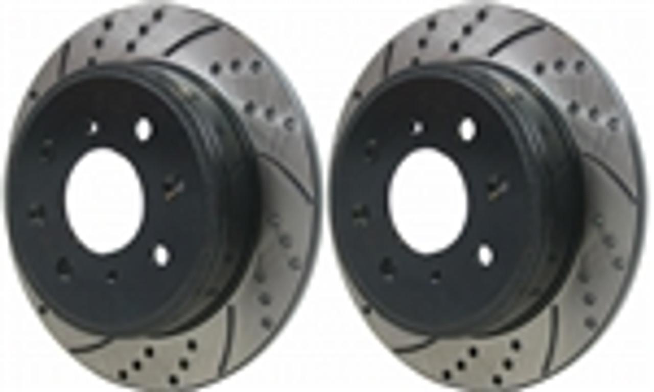 Black 2003 2004 2005 2006 2007 Acura TSX Slot Drill Rotor Ceramic Pads F