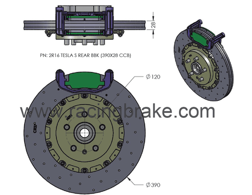 RB CCB System Kit (390/390) for Tesla Model S & X Front & Rear (P/N 2C49-K & 2R16-K)