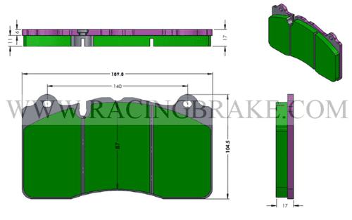 [PD1395GT-360] RB (ST600) Street Brake Pads for CCM Rotors - Corvette ZR1, Camaro Z28, Ferrari F458, McLaren etc. Front & RB6XL Caliper