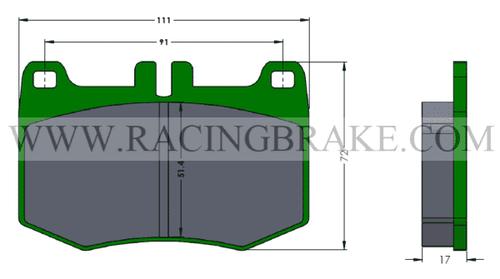 [PD2063-391] RB Street+ Pad (XT910): Lexus LC500 & LS500 Rear