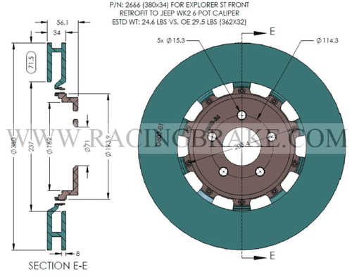 RB 2pc Rotors (380x34) for Ford Explorer ST Front Retrofit to Jeep SRT8 2012+ (WK2) 6pot Caliper (Not Included in Price)