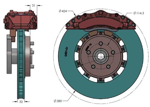 RB 6 Pot Caliper Brake Kit (380x32mm) for Ford Explorer ST (2020+) Front