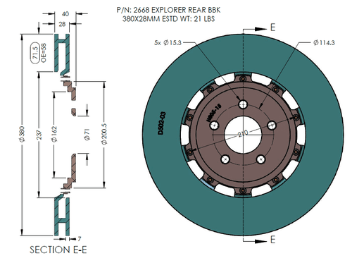 RB 2pc Rotors (380x28) for Ford Explorer ST Rear BBK