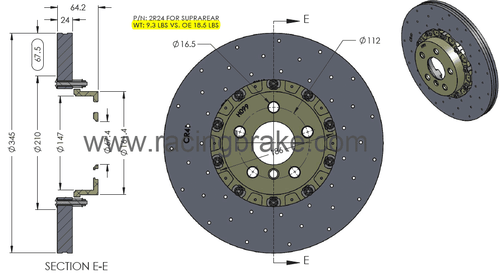 RB CCB Rotor Kit (345x24) for Supra MK5 Rear Upgrade Fits OE Calipers (Not Included) w/o Modifications