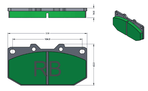 [PD647-38] RB Street Pad (XT910) for RB4000 Caliper, 300ZX, WRX
