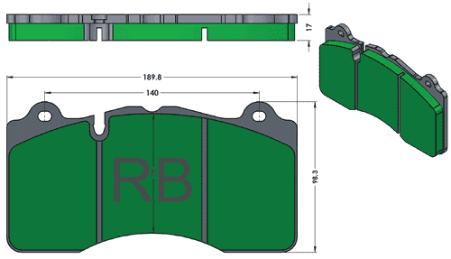 [PD1395.PD968] Track Pads for RB6L & RB4M Calipers