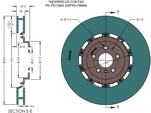 Front rotor dimension