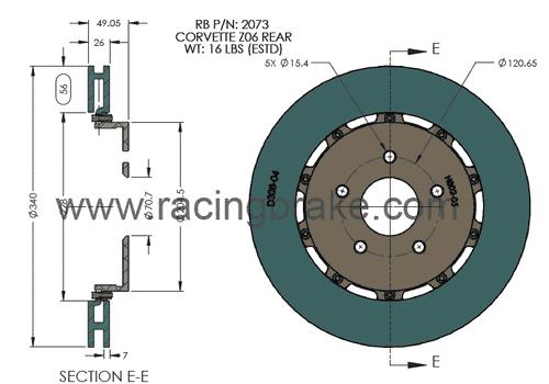 RB 2pc Rotor Kit (340x26) for Corvette C6 Z06 / Grand Sport Rear 06-13