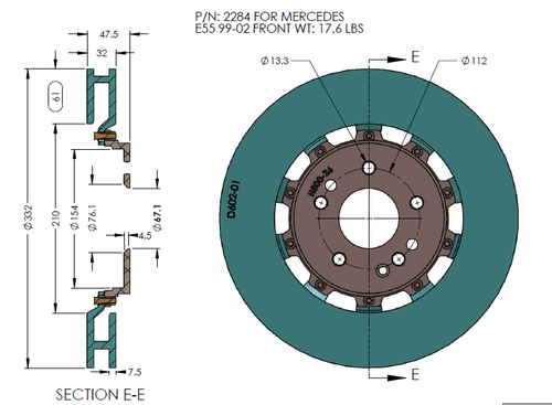 RB 2pc Rotors - MERCEDES 98-00 C43 AMG, 99-02 E55 AMG, 01-02 CLK55 AMG FRONT (Price in Pair)