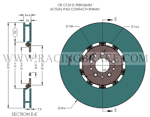 RB 2 Pc Iron Rotor Kit (394x36) for Ferrari 430 Scuderia, Spider 16M Front (CCM to Iron Conversion)