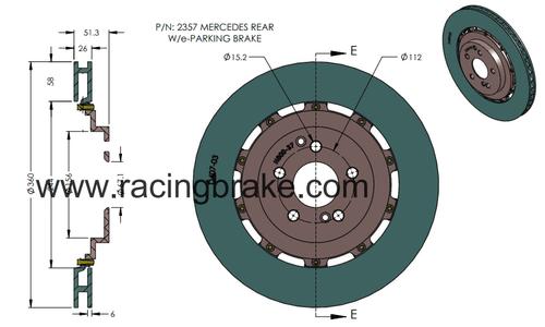 RB 2pc Rotor (360x26mm) for Mercedes C63/C63S (2016+), S63/65 (2014+), SL55/63, E63 S 2017+, GT S, C63BS, G63/65, ML (W166), GL (X166) & Other AMG 2012+ Rear w/e-Parking Brake
