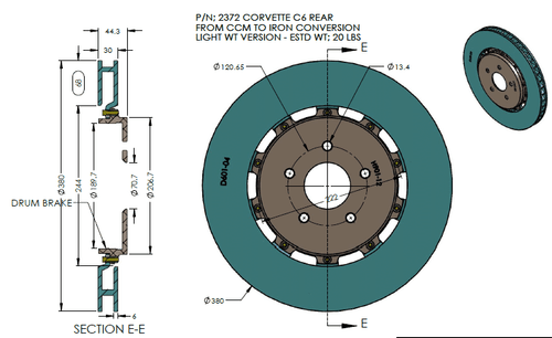 RB Light Wt Rotor Kit (380x30 Iron vs. 380x34 CCM) Converting OE CCM to Iron Rotor - C6 Corvette ZR1 / Z06 Carbon Edition REAR
