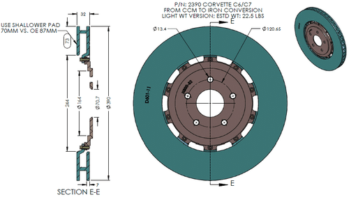 RB Light Wt Rotor Kit (390x32 Iron vs. OE 394x36 CCM) Converting OE CCM Rotor - C6 Corvette ZR1 / Z06 Carbon Edition FRONT
