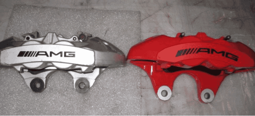The caliper (red) on right are required to install the BBK (Not included)